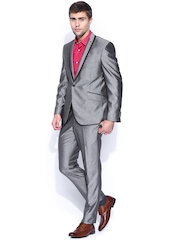 V Dot Grey Single-Breasted Suit