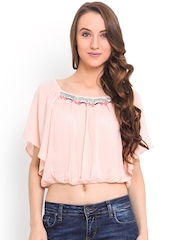 Trend Arrest Peach-Coloured Crop Top