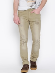 Jack & Jones Olive Brown Washed Clark Regular Fit Jeans