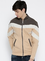 Evoke 1899 Beige & Brown Colourblocked Sweatshirt