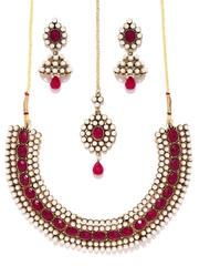 Zaveri Pearls Off-White & Magenta Jewellery Set