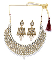 Zaveri Pearls Silver-Toned & Gold-Toned Stone-Studded Jewellery Set