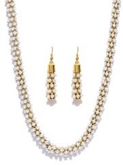 Zaveri Pearls White & Gold-Toned Beaded Jewellery Set