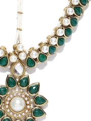 Zaveri Pearls Green & Off-White Stone-Studded Matha Patti