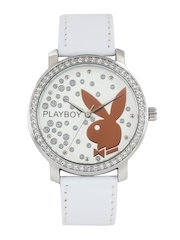 Playboy Women Off-White Dial Embellished Watch BPB-1005