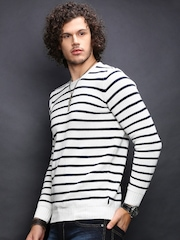 Indicode White & Navy Striped Sweater