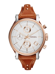 Fossil Women Silver-Toned Dial Chronograph Watch ES3837I