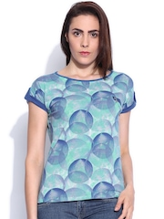 Sepia Blue Printed Top