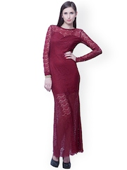 FabAlley Maroon Lace Maxi Dress