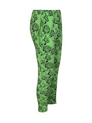 Jazzup Girls Green Printed Churidar Leggings