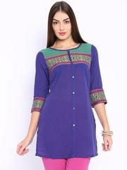 Aurelia Purple Kurti with Woven Design