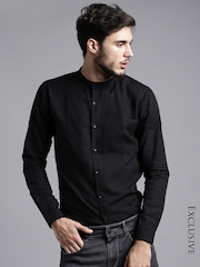 ether BLACK ANTI MICROBIAL COTTON LINEN SHIRT
