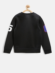 United Colors of Benetton Boys Black Applique Sweatshirt