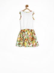 People Girls White Printed Fit & Flare Dress