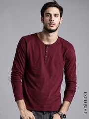ETHER Maroon Henley T-shirt