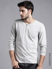 ETHER Grey Melange Henley T-shirt