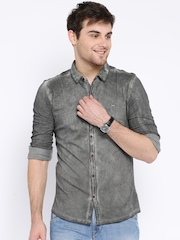 HRX by Hrithik Roshan Charcoal Grey CPD Washed Casual Knitted Shirt