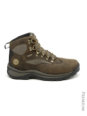 Timberland Men Olive Green & Brown Waterproof Leather Boots