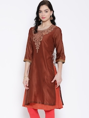 BIBA OUTLET Rust Brown Polyester Embroidered Kurta
