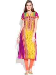 BIBA OUTLET Yellow & Purple Printed Kurta with Embellishments