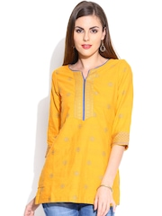 BIBA OUTLET Yellow Kurti with Patterned Weave