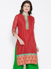 BIBA OUTLET Red Embroidered Kurta
