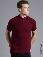 ETHER Burgundy Slim Fit T-shirt
