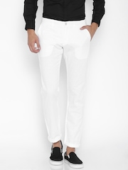 Celio White Linen Casual Trousers