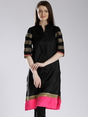 W Black Embroidered Sleeve Kurta