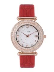 FLUID Women White Stone-Studded Dial Watch FL407-RD01