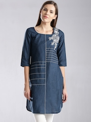 W Blue Embroidered Kurta