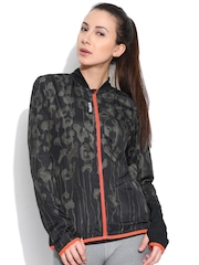 Reebok Charcoal Grey RE WVN P1 Printed Slim Running Jacket