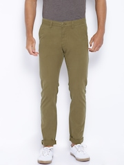 Allen Solly Khaki Trenim Fit Chino Trousers