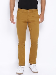 Allen Solly Mustard Brown Ultra-Slim Casual Trousers