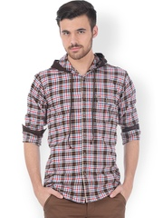 Basics Brown & Red Checked Slim Fit Casual Shirt with Hood