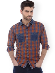 Basics Brown & Blue Checked Slim Fit Casual Shirt