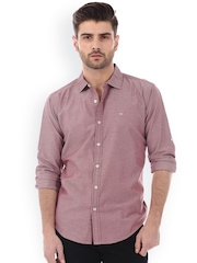 Basics Red Slim Fit Casual Shirt