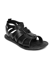 Estd. 1977 Men Black Leather Sandals