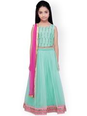 K&U Green & Pink Net Lehenga Choli with Dupatta