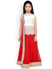 K&U Girls Red & White Lehenga Choli with Dupatta