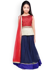 K&U Girls Blue & Maroon Lehenga Choli with Dupatta
