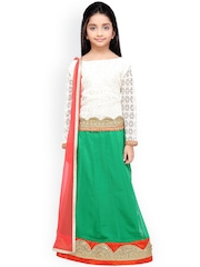 K&U Girls Green & White Lehenga Choli with Dupatta