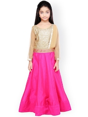 K&U Gold-Toned & Pink Silk & Net Lehenga Choli with Dupatta