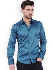 Basics Turquoise Blue Slim Fit Shirt