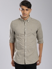 Tommy Hilfiger Brown & Grey Checked Slim Fit Casual Shirt