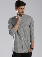 Tommy Hilfiger Grey & Navy Checked Slim Fit Casual Shirt