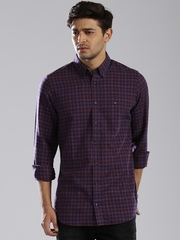 Tommy Hilfiger Purple & Navy Checked Slim Fit Casual Shirt