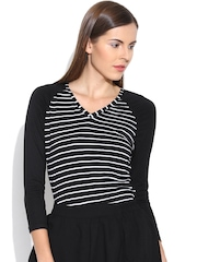 Colors Couture Black Striped T-shirt