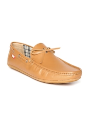 Carlton London Men Tan Brown Leather Boat Shoes