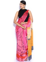 Satya Paul Multicoloured Satin Printed Sari